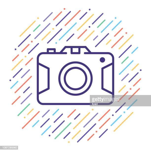 Smart Camera App Vector Line Icon Illustration