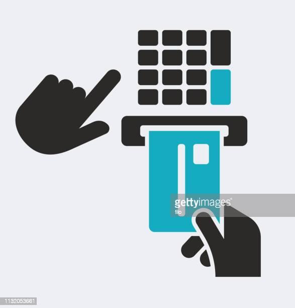 smart chip credit card - cardkey reader stock illustrations, clip art, cartoons, & icons