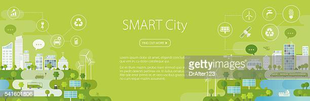 smart city banner - energy efficient stock illustrations, clip art, cartoons, & icons