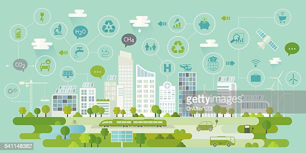 smart city concept including icons set - irrigation equipment stock illustrations