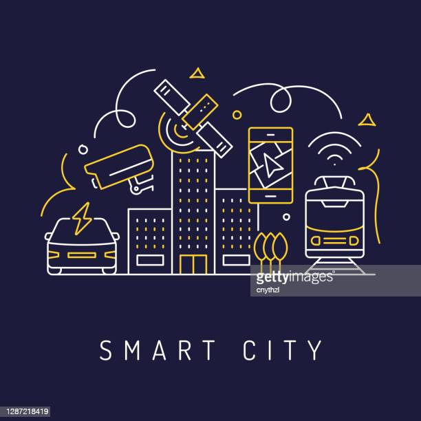 illustrazioni stock, clip art, cartoni animati e icone di tendenza di smart city concept, sfondo icone arte linea moderna. illustrazione vettoriale in stile lineare. - città intelligente
