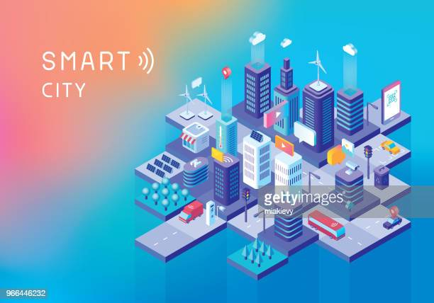 smart city concept - city stock illustrations