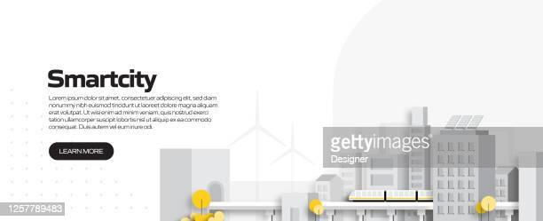 illustrazioni stock, clip art, cartoni animati e icone di tendenza di illustrazione vettoriale del concetto di città intelligente per banner del sito web, materiale pubblicitario e di marketing, pubblicità online, presentazione aziendale ecc. - città intelligente