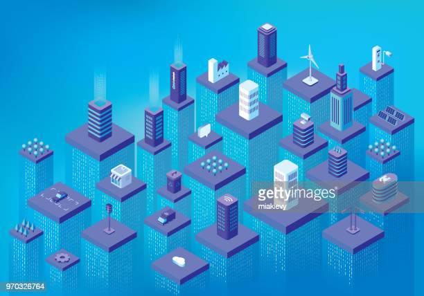 smart city data flow - semaphore stock illustrations