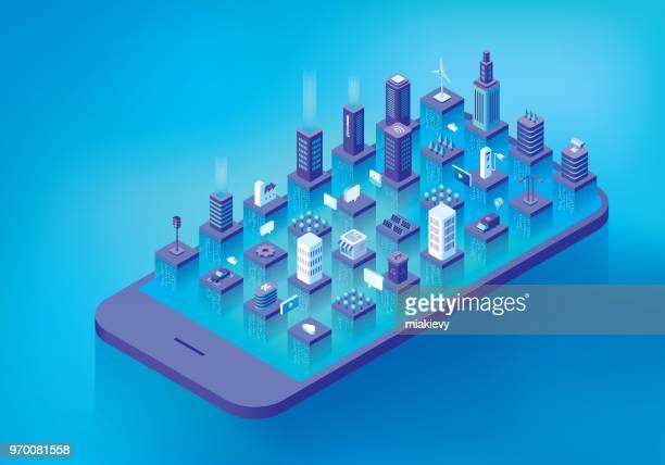 illustrazioni stock, clip art, cartoni animati e icone di tendenza di flusso di dati della città intelligente - città intelligente