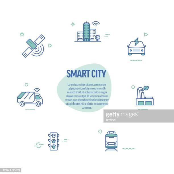 illustrazioni stock, clip art, cartoni animati e icone di tendenza di icone di linea correlate alla città intelligente. elementi di design in stile linea moderno. - città intelligente