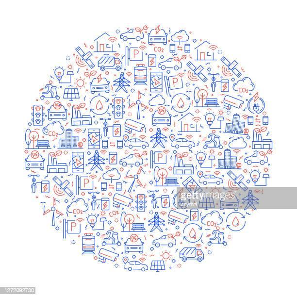 illustrazioni stock, clip art, cartoni animati e icone di tendenza di modello relativo alla città intelligente con icone. illustrazione vettoriale in stile linea moderna - città intelligente
