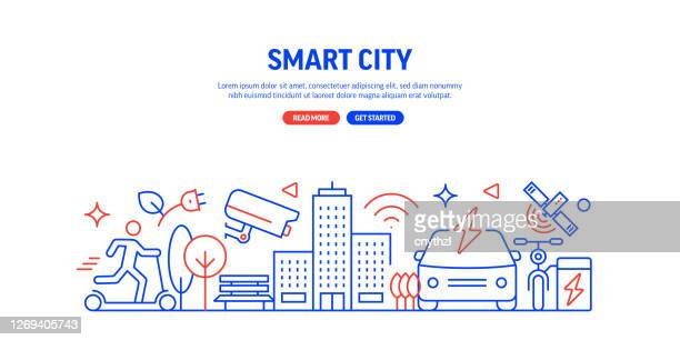 illustrazioni stock, clip art, cartoni animati e icone di tendenza di stile linea banner web relativo a smart city. illustrazione vettoriale di design lineare moderna per banner web, intestazione del sito web, ecc. - città intelligente