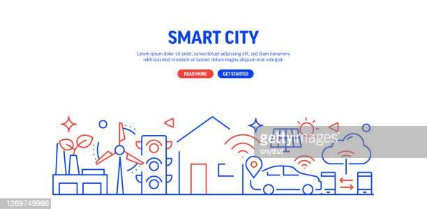 illustrazioni stock, clip art, cartoni animati e icone di tendenza di stile linea banner web relativo a smart city. illustrazione vettoriale di design lineare moderna per banner web, intestazione del sito web, ecc. - internet delle cose