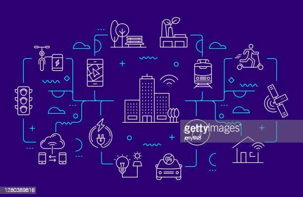 illustrazioni stock, clip art, cartoni animati e icone di tendenza di stile linea banner web relativo a smart city. illustrazione vettoriale di design lineare moderno - internet delle cose
