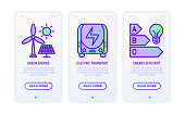 Smart city thin line icons set: green energy, electric transport, energy efficient. Vector illustration for user mobile interface.