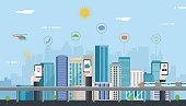 Smart city. Urban landscape with infographic elements. Modern city. Concept website tamplate. Vector