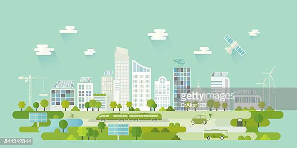 smart city - skyscraper stock illustrations