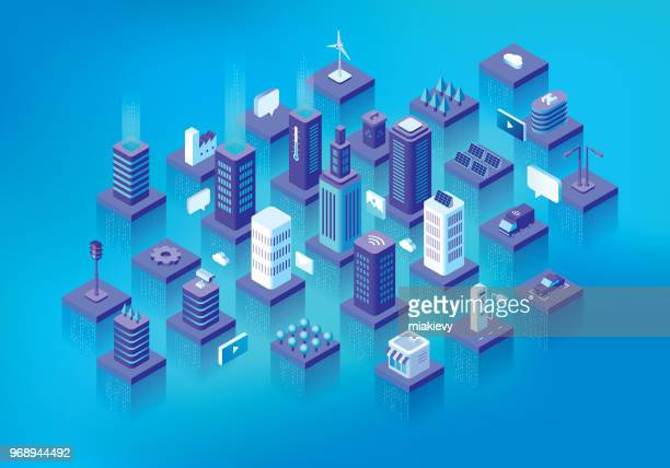 smart city - human settlement stock illustrations