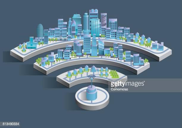 illustrazioni stock, clip art, cartoni animati e icone di tendenza di smart città connessione senza fili - città intelligente