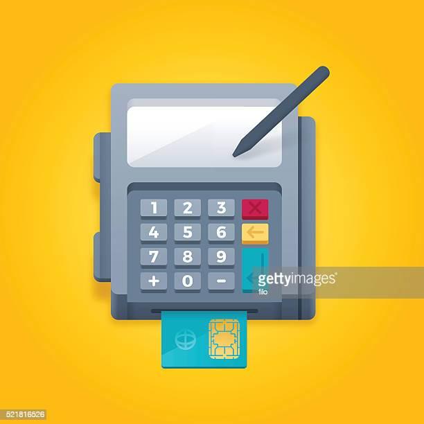 ilustrações, clipart, desenhos animados e ícones de inteligente chip de leitor de cartão de crédito o pagamento do terminal - recibo