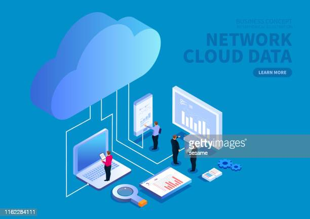smart device and web data cloud savings and analysis - serving sport stock illustrations