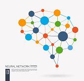 Smart digital brain idea. Futuristic neural network interact grid concept. Artificial intelligence creative think mesh system connect. Vector