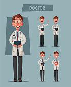 Smart doctor. Funny character design. Cartoon vector illustration