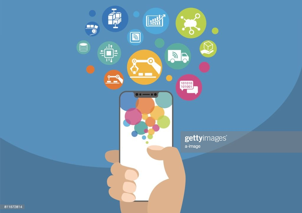 Smart factory vector illustration with icons. Hand holding modern bezel-free / frameless smartphone on blue background