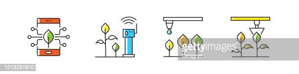 smart farm related vector line icons. outline symbol collection. - irrigation equipment stock illustrations