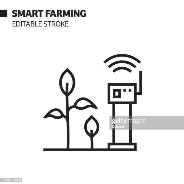 スマート農業ラインアイコン、アウトラインベクトルシンボルイラスト。ピクセルパーフェクト、編集可能なストローク。 - スマート農業点のイラスト素材/クリップアート素材/マンガ素材/アイコン素材