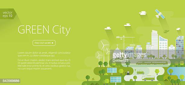 smart green city banner - train vehicle stock illustrations