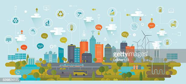 Smart Green City Using Alternative Energy Sources Including Icons