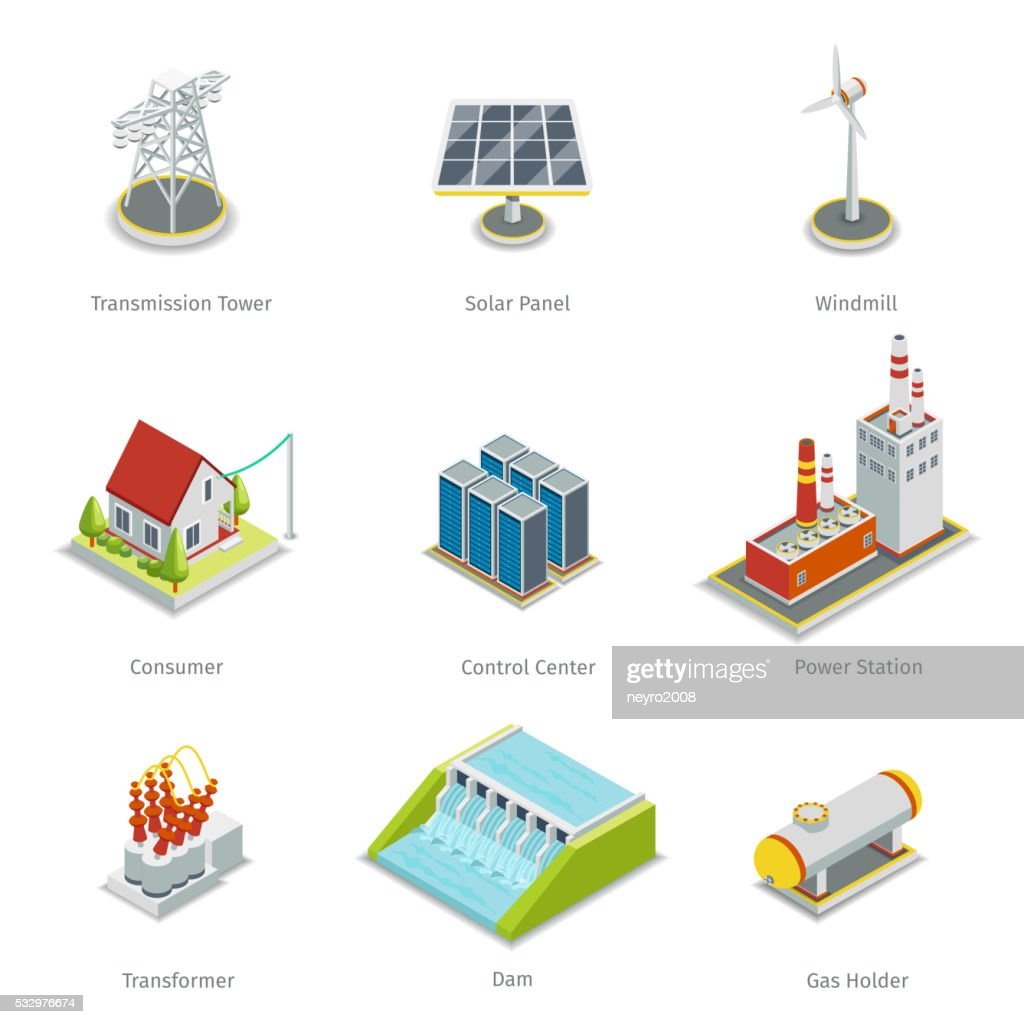 Smart grid elements. Power items vector set