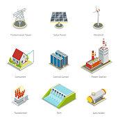 Smart grid elements. Power items vector set