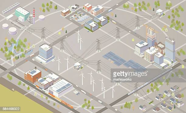 smart grid illustration - mathisworks vehicles stock illustrations