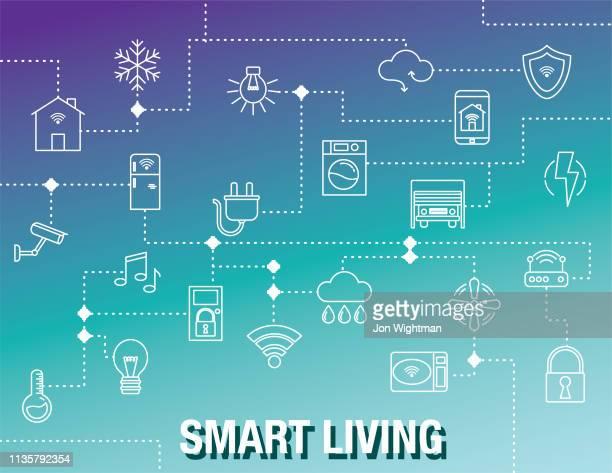 illustrazioni stock, clip art, cartoni animati e icone di tendenza di sfondo smart home - città intelligente