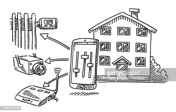Smart Home Konzept Heizung Überwachung Wifi Zeichnung