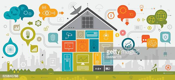 smart home concept linear - concepts & topics stock illustrations, clip art, cartoons, & icons