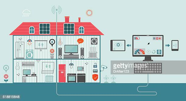 smart home concept - domestic room stock illustrations, clip art, cartoons, & icons