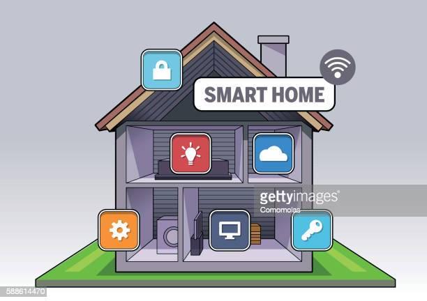 illustrations, cliparts, dessins animés et icônes de smart home connected - domotique