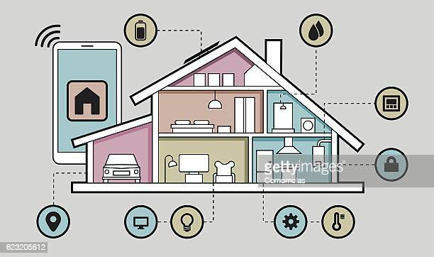 smart home connected - electric vehicle charging station stock illustrations