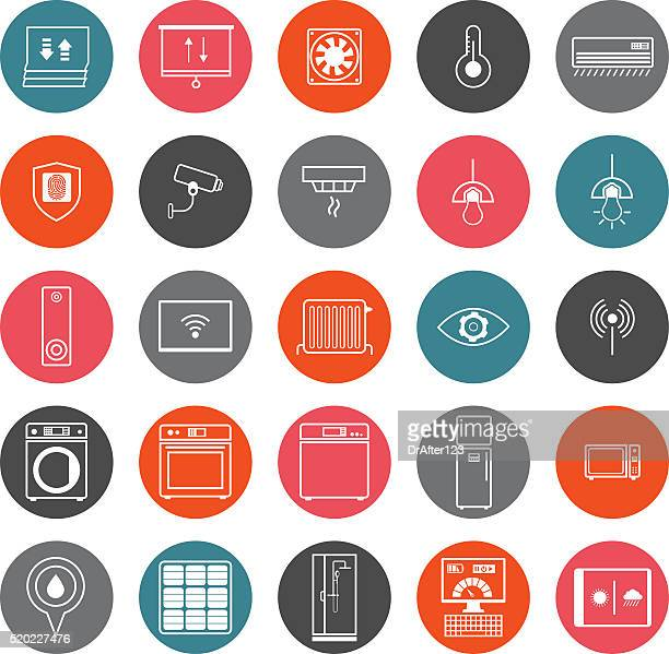 smart home icons set - blinds stock illustrations, clip art, cartoons, & icons