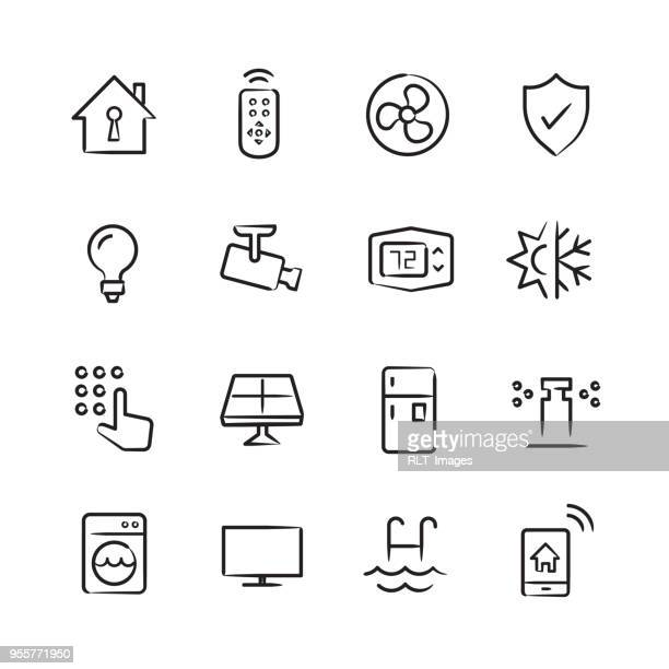 smart home icons — sketchy series - sprinkler stock illustrations
