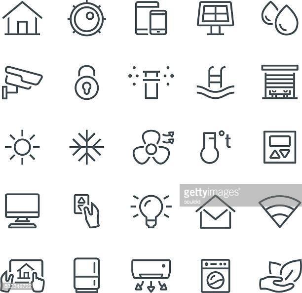 illustrations, cliparts, dessins animés et icônes de smart icônes maison - domotique