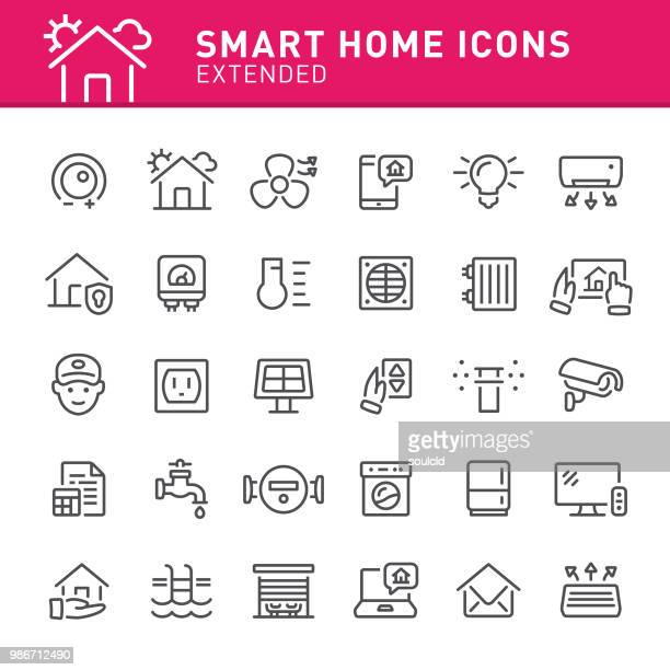 illustrazioni stock, clip art, cartoni animati e icone di tendenza di smart home icons - internet delle cose