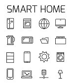 Smart home related vector icon set.