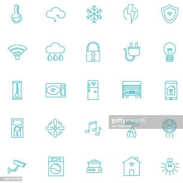 Smart Home Thin Line Icon Set