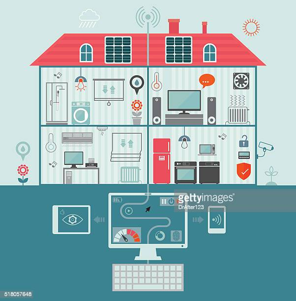 smart home - energy efficient stock illustrations, clip art, cartoons, & icons