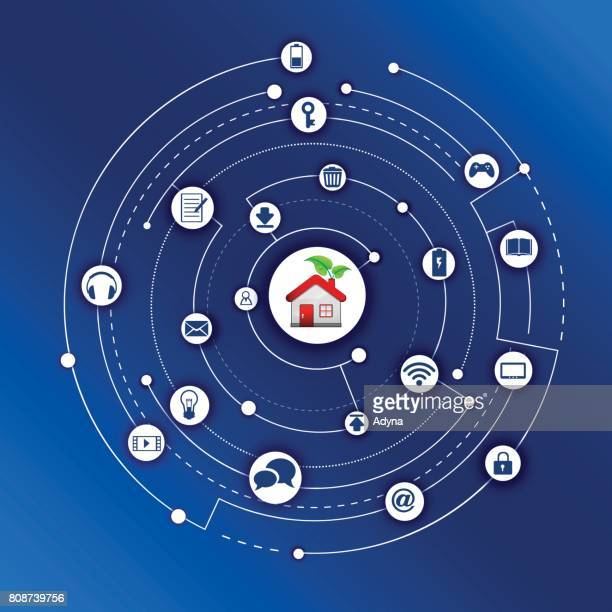 smart home - power supply stock illustrations