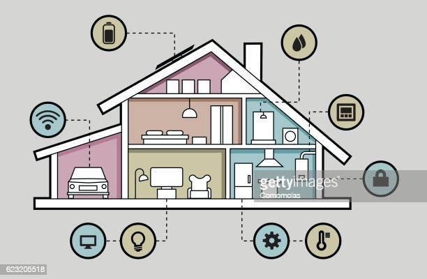 ilustraciones, imágenes clip art, dibujos animados e iconos de stock de smart home wifi connected - aparato de aire acondicionado