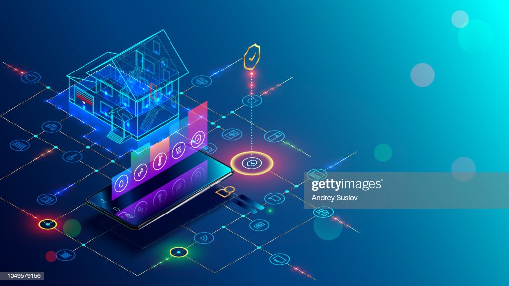 Smart home with internet of things isometric concept. IOT technology in house automation