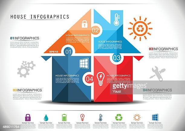 smart house infographics - house exterior stock illustrations, clip art, cartoons, & icons