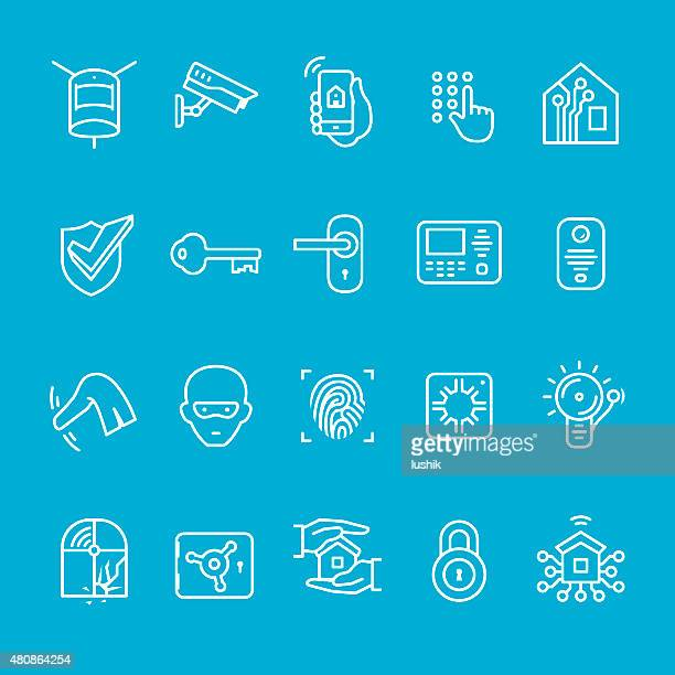Smart house security icons collection