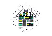 Smart house technology line style illustration